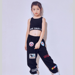 Image 4 - Nuovo Nero di Modo di Rosa Danza Jazz Patns Per Bambini Hip Hop Pantaloni di Ballo di Strada Ds Costume Pantaloni Allentati Dei Pantaloni di casual Pantaloni Della Tuta DL2469