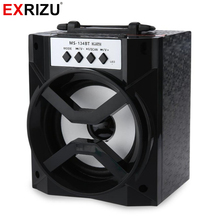 EXRIZU MS-134BT LED Light Bluetooth Hand Portable Speaker Subwoofer Wireless Music Boombox FM Radio Loudspeaker USB TF Card AUX