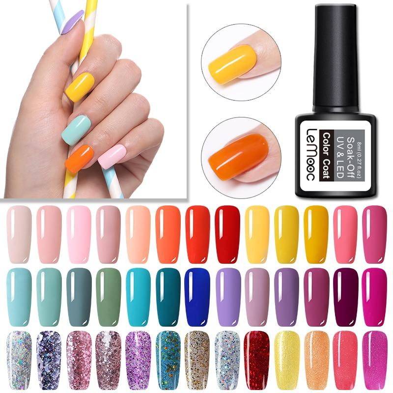 LEMOOC 2Pcs Gel Polish Set Glitter Summer Nail Soak Off Lak Professional DIY Art UV Nails