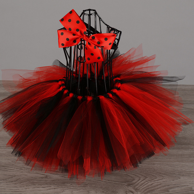 853a44d2b € 4.88 10% de DESCUENTO Lindo bebé Rojo Negro tutú faldas infantil niña  hecha a mano tul Ballet Pettiskirts con flor diadema niños cumpleaños ...
