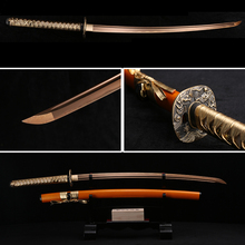 Handmade Full Tang Japanese Katana Gold Damascus Folded Steel Real Samurai Sword Sharp Edge Orange Sheath