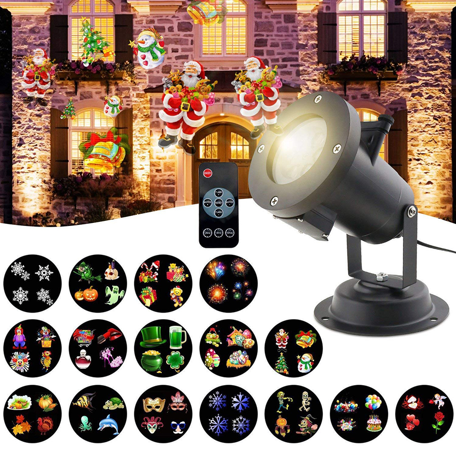 Thrisdar 16 Patterns Christmas Projector Lamp Outdoor Christmas Disco Stage Light Waterproof Garden LED Laser Projection Light beiaid ip65 outdoor laser landscape light projection moving star christmas laser projector garden party disco dj led stage light