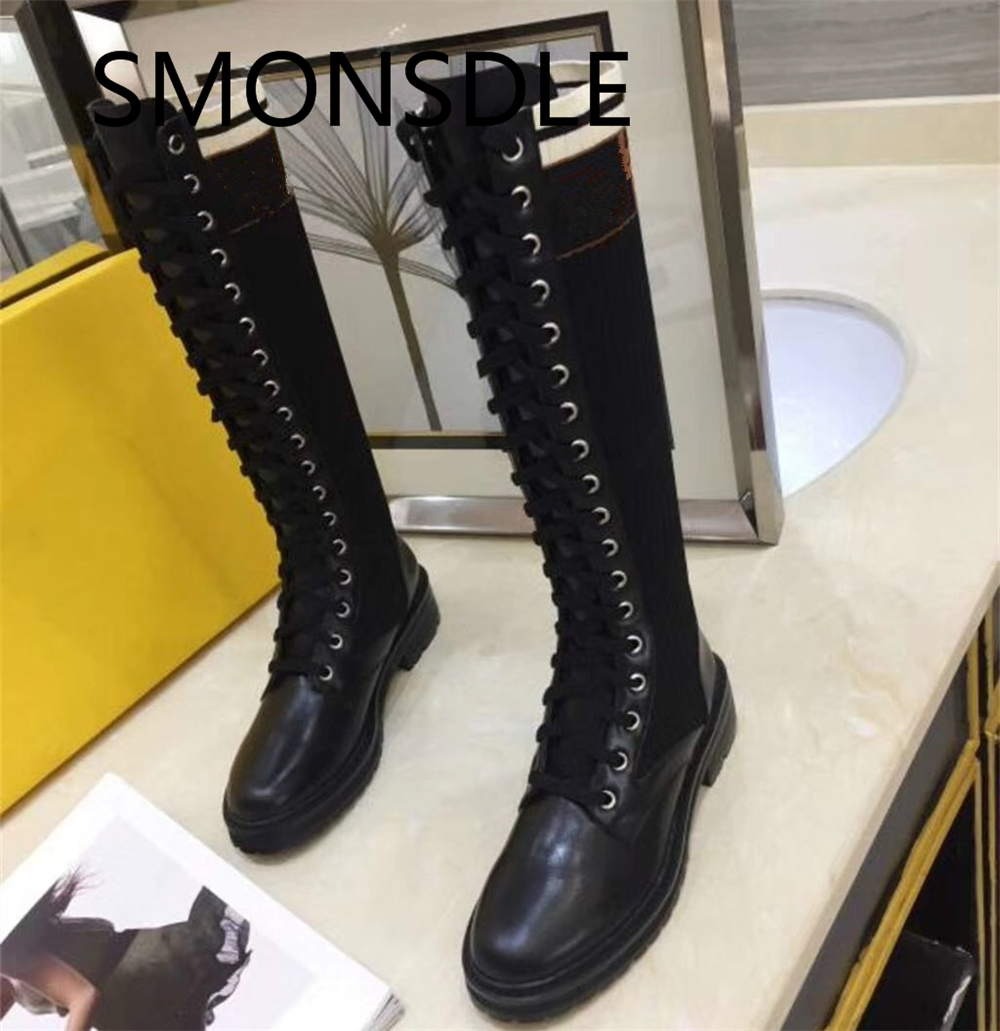 2018 New Genuine Leather Black Lace Up Women Boots Round Toe Knee High Boots Shoes Woman ancient greek lace up leather suede knee high women boots round toe thick high heels fashion woman motorcycle boots shoes women