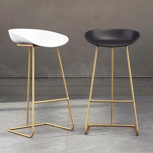 Nordic bar stool wrought iron creative simple bar chair cafe gold bar stool front high stool(China)