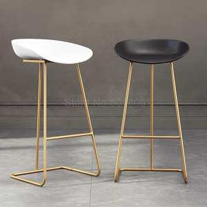 Bar Stool Chair Wrought-Iron Gold Nordic Simple-Bar Front Cafe Creative
