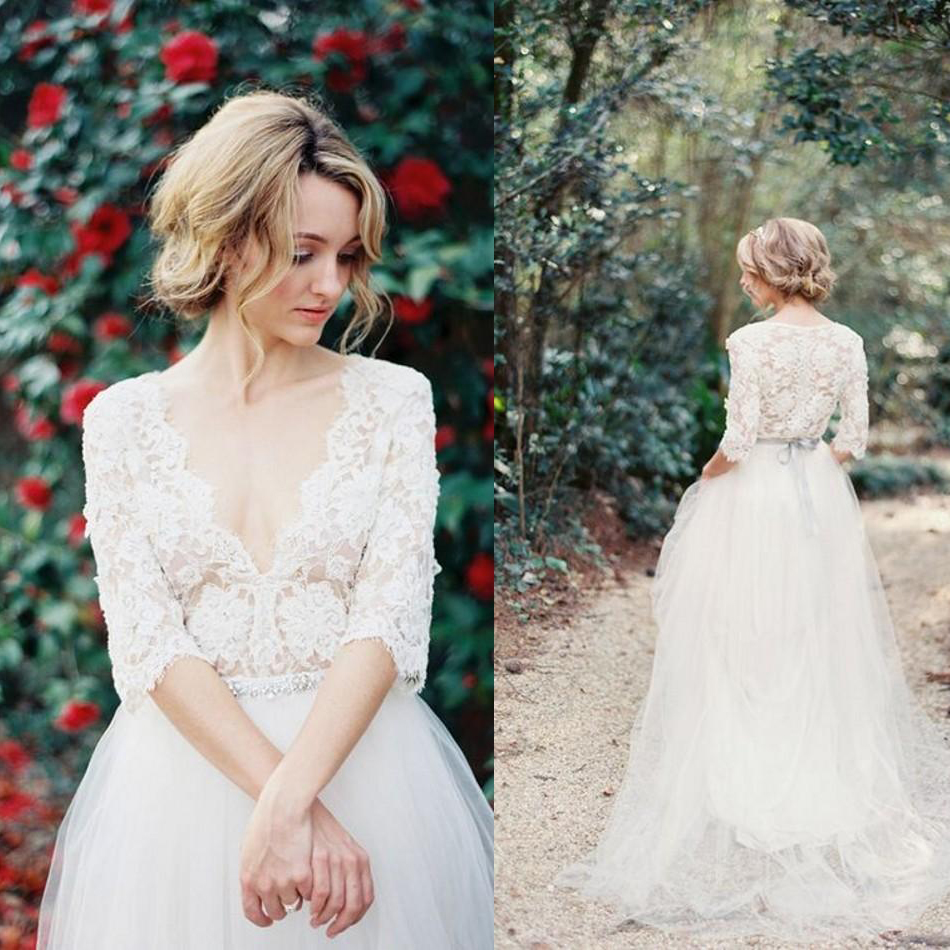 Half Sleeve Lace V Neck Tulle Wedding Dresses 2017 Vintage