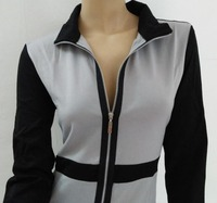 100% real photo Womens Belted Check Rits Slit Tuniek Wear Werken Business Casual Party Potlood Bodycon Schede Jurk
