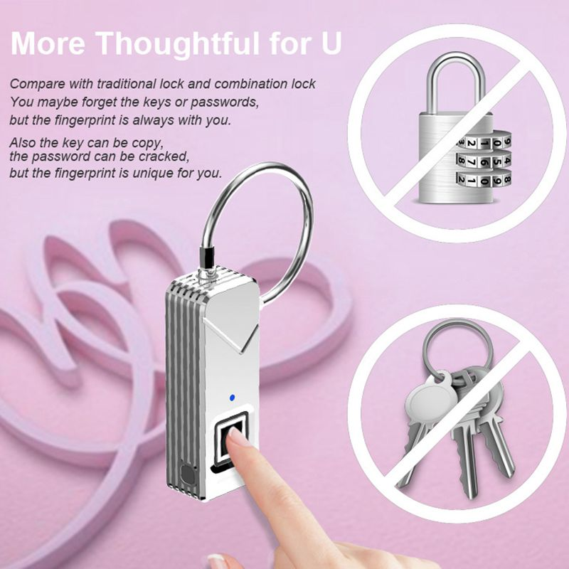 Outdoor Rechargeable Smart Keyless Fingerprint Lock Top Security Fingerprint Padlock For Travel Bags Luggage Suitcase Backpack