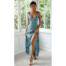 2019 Summer New Hot Women Sexy Sling Sleeveless V-neck Backless Lace Up Slim Print Dress National Style Casual Long Dress F3 цена 2017