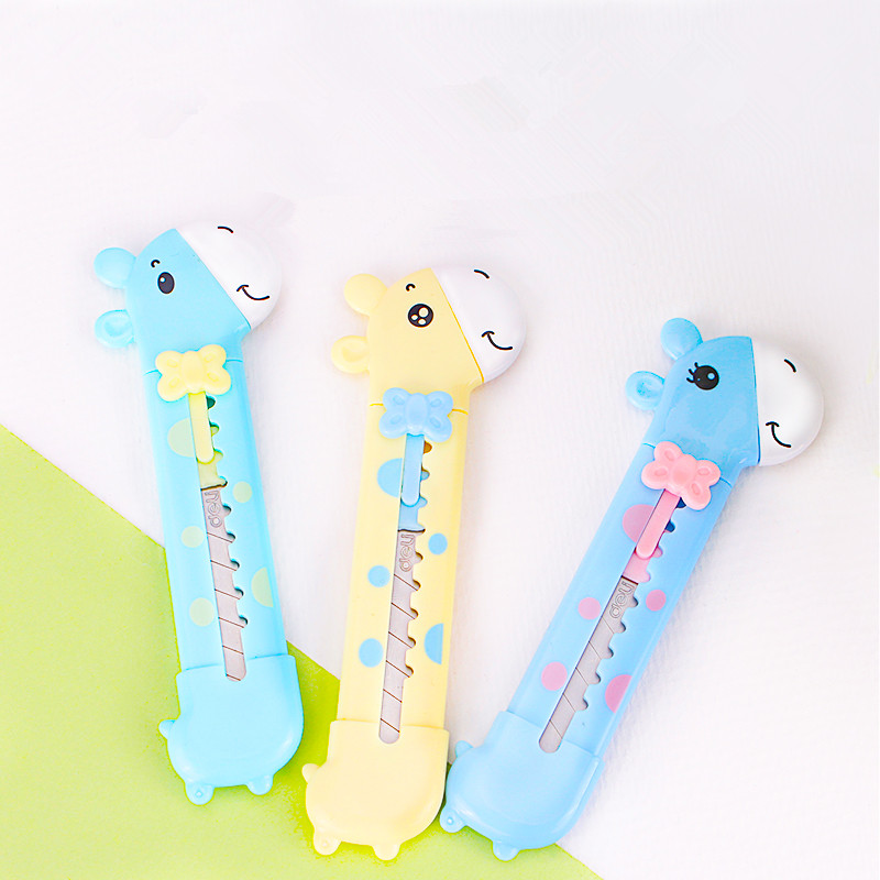Cutting Supplies Office & School Supplies Utility Knife Children Cartoon Girrafe Lovely Style Handwork Tools 11cm 2pcs/lot