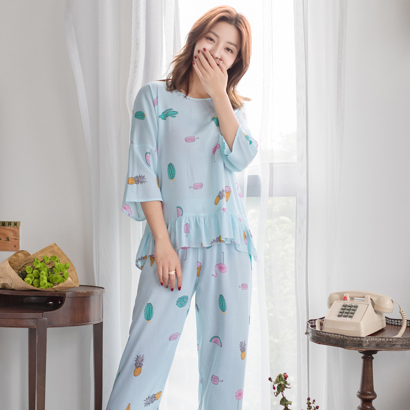 pijama 2019 spring summer new INS pyjamas women lingerie round collar tracksuits cotton silk home suits loose   pajamas     set