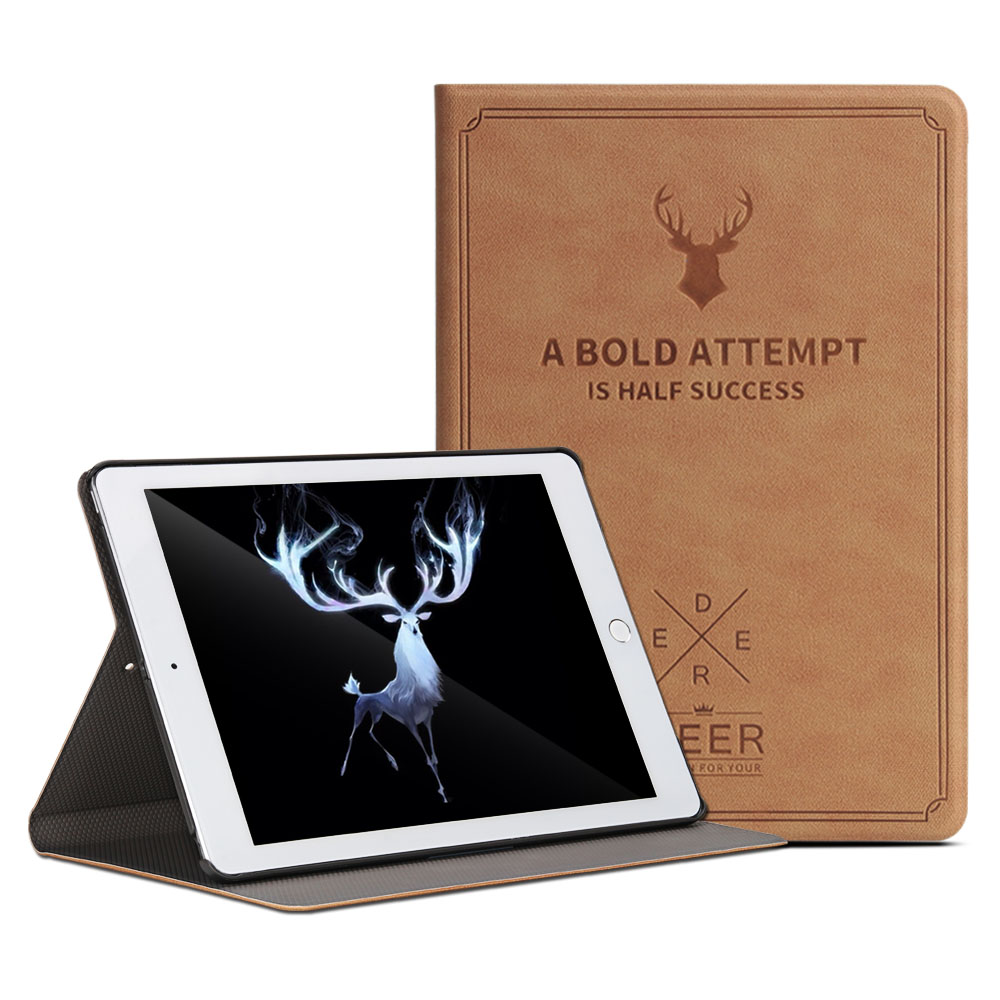 For 2017 New iPad 9.7 Retro Deer Pattern PU Leather Tablet Cover Case Capa Para forNew iPad 2017 Model A1822 +Film +Pen  transparent tpu silicone back cover for new ipad 2017 model a1822 tablet cover for funda new ipad 2017 capa para stylus pen