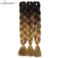 Snoilite 24Inch Long Jumbo Braid Hair Extensions Kanekalon Synthetic Crochet Hair Braids Ombre Braiding Hair Afro