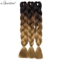 Snoilite 24Inch Long Jumbo Braid Hair Extensions Kanekalon Synthetic Crochet Hair Braids Ombre Braiding Hair Afro