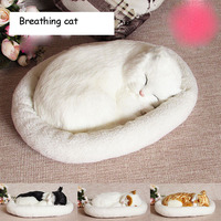 Simulation cat plush toys dolls kawaii breathing cats model Toy animals Doll children kids creative gifts home car decoration