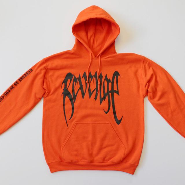 2018 New  fashion revenge hand letter print long sleeve orange black men hoodies sweatshirts long sleeve pullover