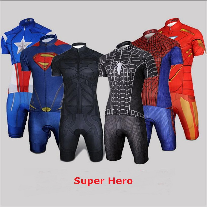 Super-heróis ciclismo jersey men & women 2018 camisas mtb bicicleta roupas de ciclismo ropa ciclismo maillot skinsuit bicicleta equipe pro roupas desgaste
