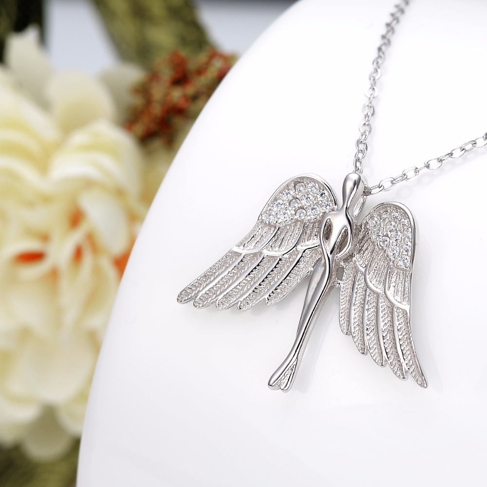 Tuliper Silver 925 Angel Bridal Necklace Pendant Charm Zircon Necklace For Women Wedding Party Gift подвеска