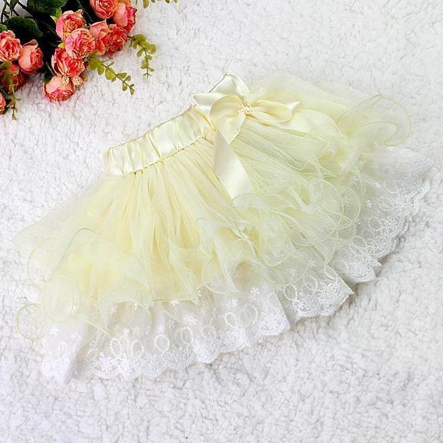 Fashion Kids Girl Tutu Skirt Pink Lace Girl Princess Pettiskirt With Ribbon Bow 2 layers Chiffon And  Lace Children Clothing