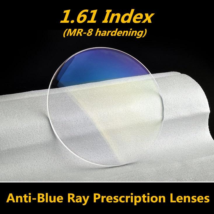 Langford 1.61 lentille de lunettes de Prescription de lentille de rayons bleus pour les lunettes d'ordinateur MR-8 coupe de rayon bleu peut être lentille de coupe de diamant