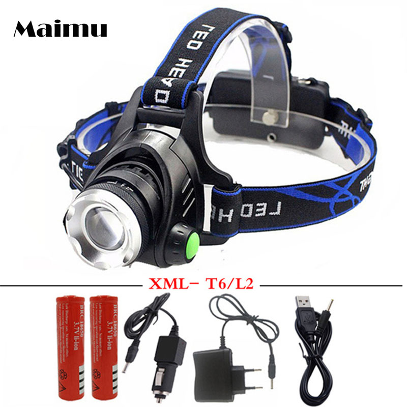 Maimu 5000LM XML-L2/T6 Led Scheinwerfer Zoomable Scheinwerfer Wasserdicht Stirnlampe taschenlampe stirnlampe Angeln Jagd Licht D14