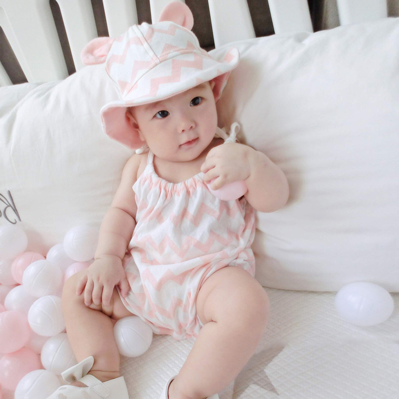 Baby Girls Jumpsuits with Hat Sleeveless Soft Breathable Rompers for Summer NSV775(China)