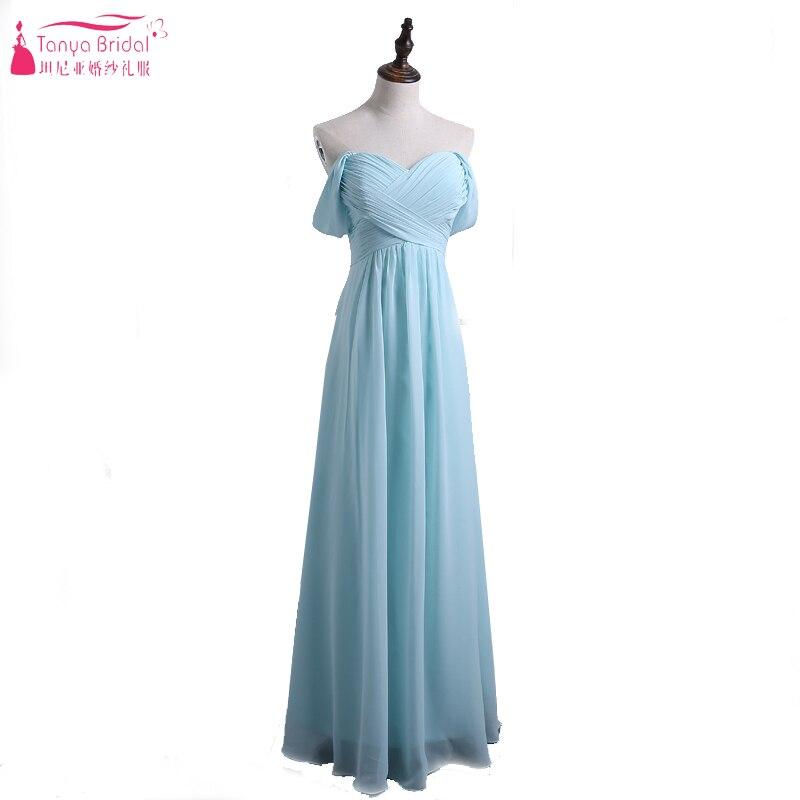 Light Sky Blue Bridesmaid Dresses 2017 A Line Chiffon Off the ...