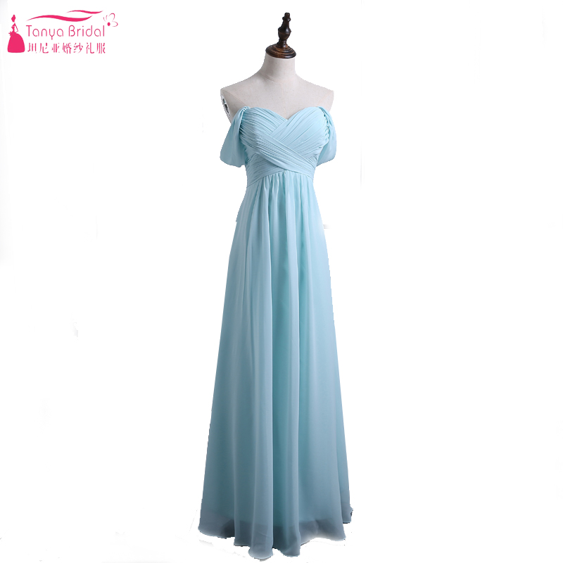 Light Sky Blue   Bridesmaid     Dresses   2017 A Line Chiffon Off the Shoulder Wedding Guest   Dresses   Vestidos Cheap Gowns ZD009