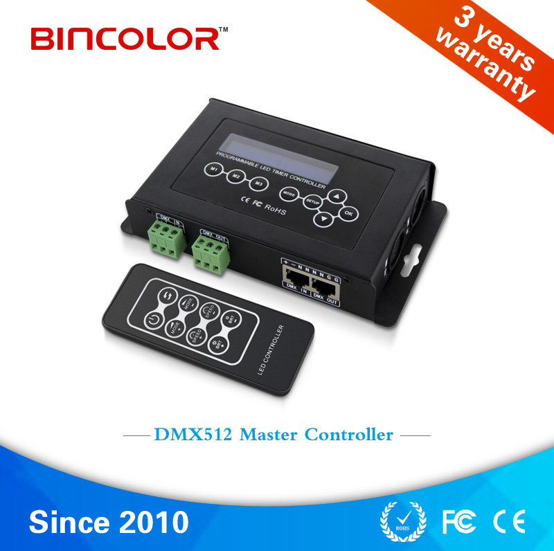 BC-100 DMX512 LED lighting controller DC9V led rgb strip dmx controller dmx512 digital display 24ch dmx address controller dc5v 24v each ch max 3a 8 groups rgb controller