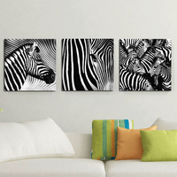 Free Shipping Canvas Painting Black And White Animal Paintings Zebra 3Piece Art Picture Home Decor On