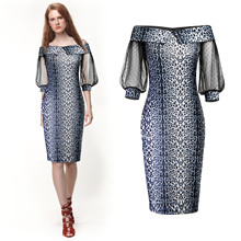 Summer Lace Off Shoulder Print Party Dress Women Half Sleeves Knee Length Bodycon Dress Lantern Sleeve Snakeskin Office Dress sky blue stripe off the shoulder 3 4 length sleeves bodycon dress