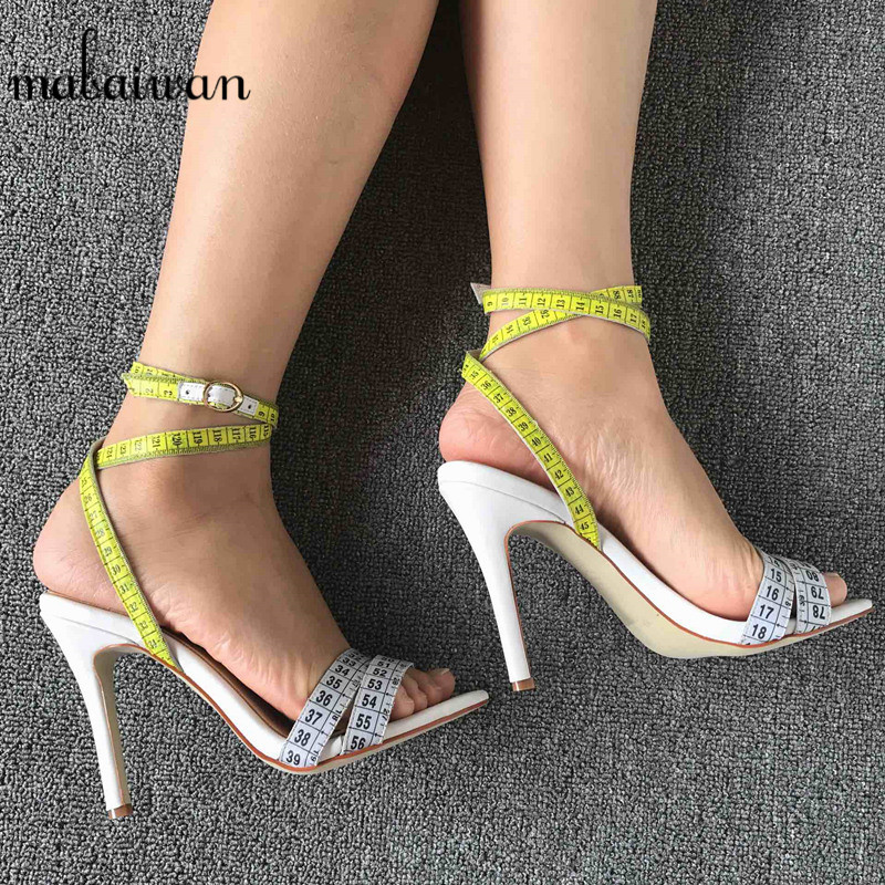 Mabaiwan Fashion Summer Women Sandals White Ruler Design Dress Shoes Woman Gladiator Sandals High Heel Women Pumps Zapatos Mujer fashion women s sandals with metal and stiletto heel design