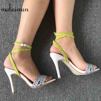 Mabaiwan Fashion Summer Women Sandals White Ruler Design Dress Shoes Woman Gladiator Sandals High Heel Women Pumps Zapatos Mujer