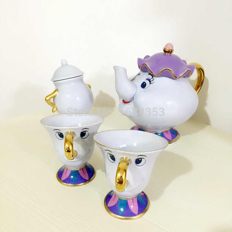 New Style Cartoon Beauty And The Beast Tea Set Mrs Potts Chip Sugar Pot Cup Coffee Xmas Gift [ 1 Teapot + 2 Cups+ 1 Sugar Bowl ]