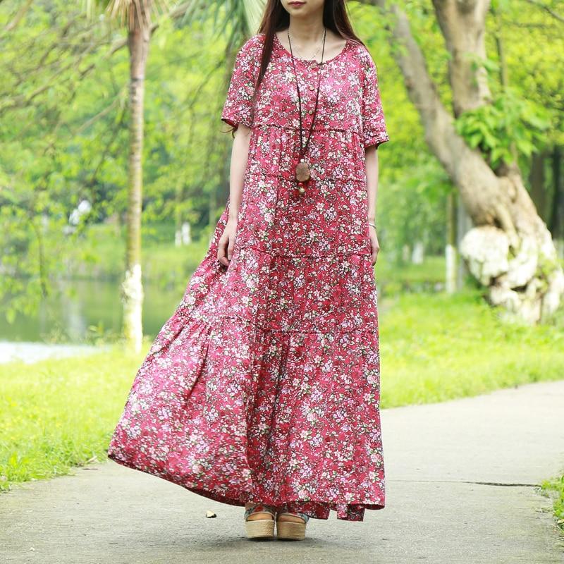 LZJN Vestido de playa de verano 2019 Vestido de camisa maxi flor - Ropa de mujer - foto 5