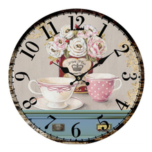 Vintage Antique Style 34cm Wall Clock Home Bedroom Retro Kitchen Quartz  (Pattern:flower+cups)