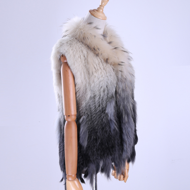 Brand New Women's Lady Genuine Real Knitted Rabbit Fur Vests tassels Raccoon Fur Trimming Collar Waistcoat Fur Sleeveless Gilet 5