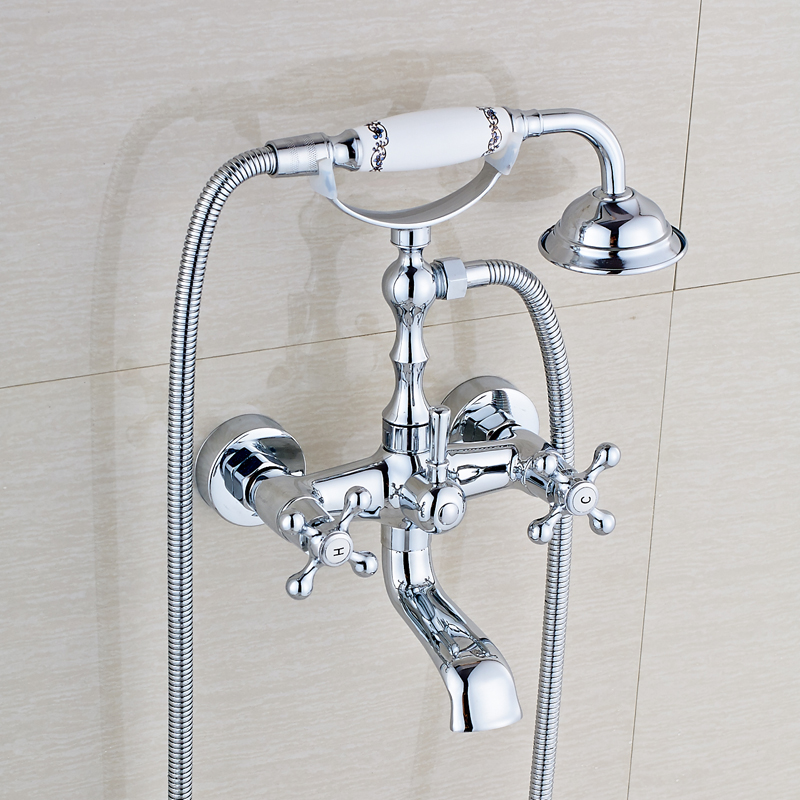 Wall Mount Bathroom Tub Faucet Double Handle Mixer Tap with Hand ...