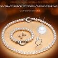 2016 100% натуральный белый жемчуг пресноводных ювелирные изделия устанавливает Ожерелье Браслет Кулон Кольцо серьги подлинная набор для женщины Лучший Подарок