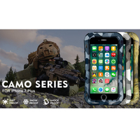 LOVEMEI CAMO Series Small Waist Aluminum Case For iPhone 7 Plus Armor Camouflage Back Cover ShockProof Defender Phone Case