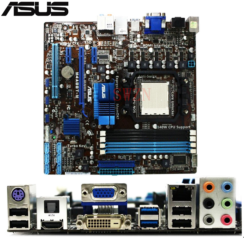 original Used Desktop motherboard For ASUS M4A88T-M A88 support Socket AM3 4*DDR3 support 16G 6*SATA2 uATX full compatible for intel and for a m d motherboard pc12800 1600mhz desktop memory ram ddr3 8gb