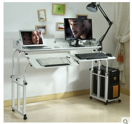 Double double bed computer desk table dining table can be tilted table across the bed nursing