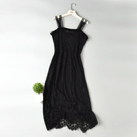 Women Lace strap dress suspender see through sexy full slip dress long loose high waist thin eyelashes with lining petticoat