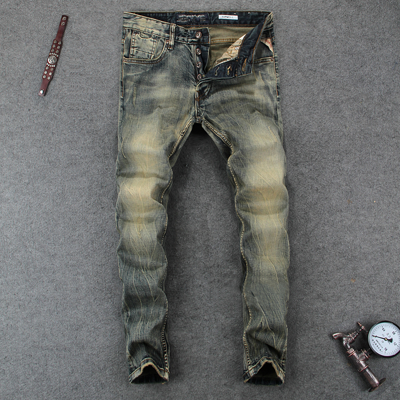 Italian Style Men Jeans Fashion Retro Denim Long Buttons Pants Slim Fit Elastic Classical Jeans Men Vintage Designer Jeans Homme