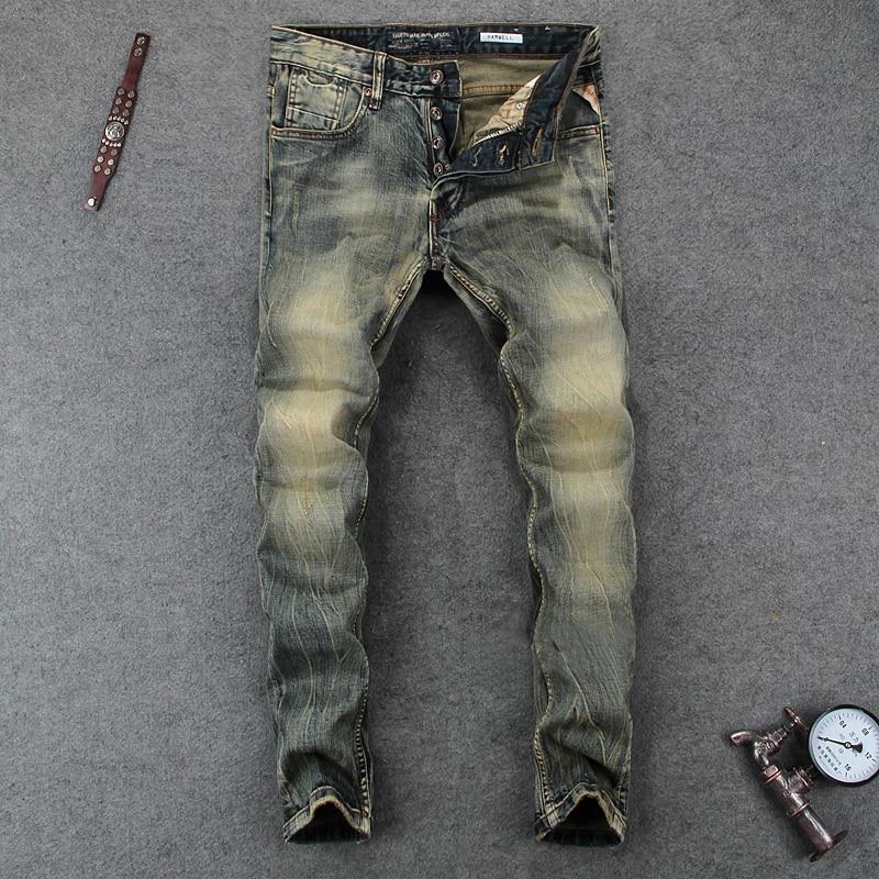 Italian Style Men Jeans Fashion Retro Denim Long Buttons Pants Slim Fit Elastic Classical Jeans Men Vintage Designer Jeans Homme