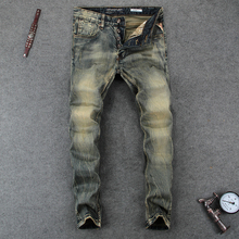 Italian Style Men Jeans Fashion Retro Denim Long Buttons Pants Slim Fit Elastic Classical Vintage Designer homme