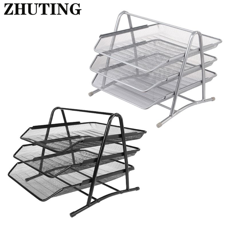3 Tier Metall Mesh Dokument Rack Datei Halter Brief Tablett für Home-Office Schreibtisch <font><b>Organizer</b></font> Supplies Dokument Tablett image