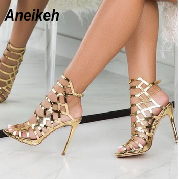 Aneikeh 2021 Fashion Night Club Sexy Hollow Out Super High Heel Womens Sandals Patent Leather Gladiator Golden Party Shoes 35-40 1