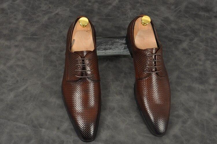 Para Cuero A Hecho Pic Punta Formal Hombre Italianos 2 Los Trabajo Vestido Nuevo 1 as As Oficina Hombres Estrecha Up Negocios Lace Mano Zapatos Oxfords De 6qdBr7pq