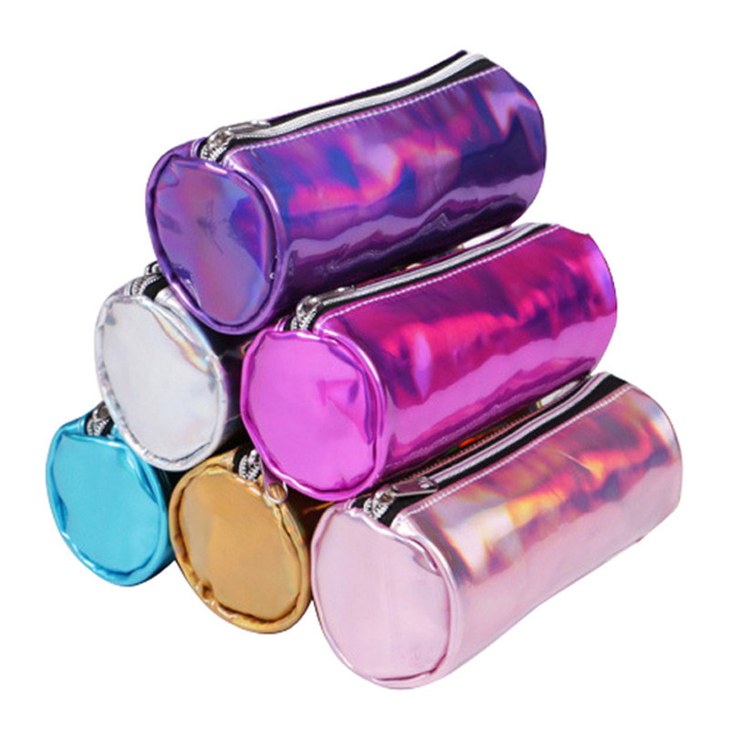 circular Cosmetic Bag Women Make-up Cases Hologram Laser Cosmetic Cases Holographic Leather Storage Pouch Lady Makeup Purse